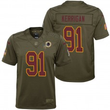 Youth Washington #91 Redskins Ryan Kerrigan Olive 2017 Salute to Service Game Jersey