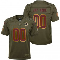 Youth Washington Redskins Olive 2017 Salute to Service Game Customized Jersey