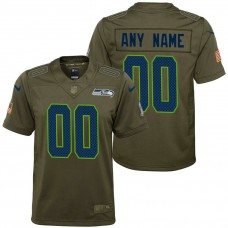 Youth Seattle Seahawks Olive 2017 Salute to Service Game Customized Jersey