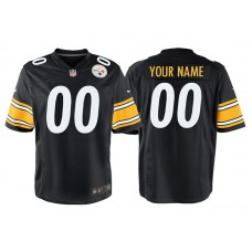 Youth Pittsburgh Steelers Black Game Customized Jersey