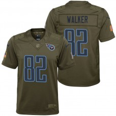 Youth Tennessee Titans Delanie Walker Olive 2017 Salute to Service Game Jersey