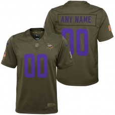Youth Minnesota Vikings Olive 2017 Salute to Service Game Customized Jersey