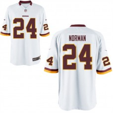 Youth Washington Redskins #24 Josh Norman White Game Jersey